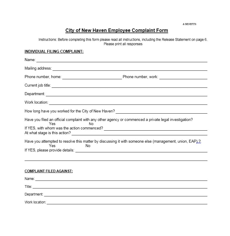 Delighted Employee Complaint Form Photos  Resume Ideas  BayaarInfo