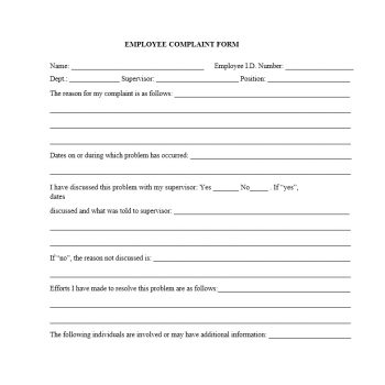 Employee Complaint Form Template 31