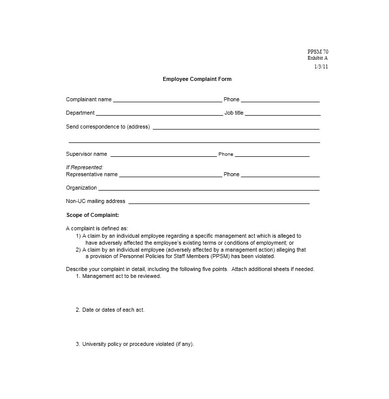 employee complaint form template 32