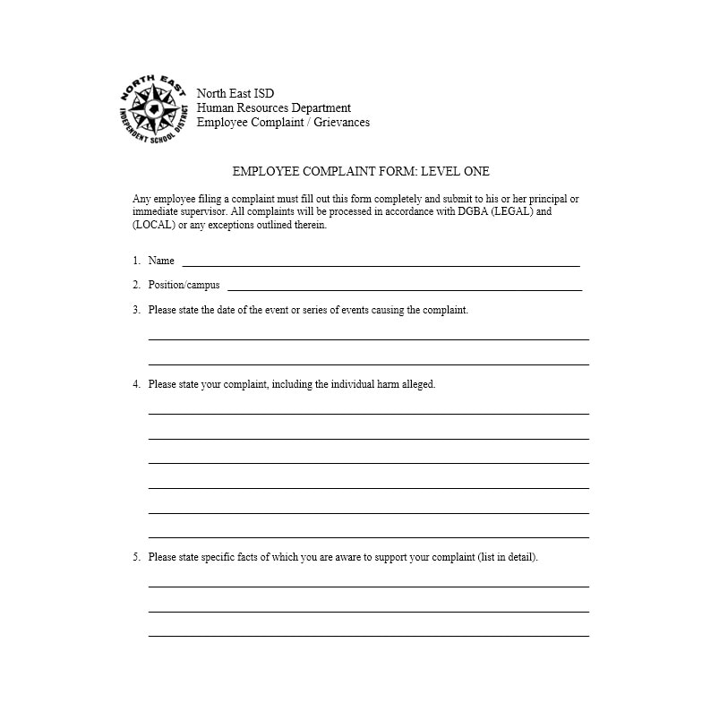 49 employee complaint form letter templates template archive