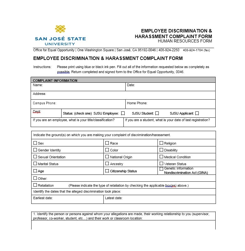 Hr complaint form sample by jasmine everett at coroflot. Com.
