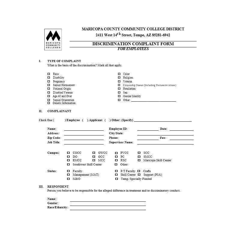 Employee Complaint Form Template 38  Complaint Forms Template
