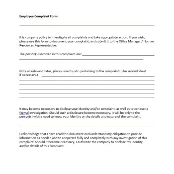 Employee Complaint Form Template 42