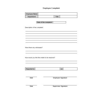 Employee Complaint Form Template 43