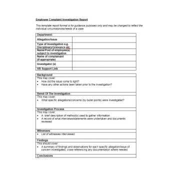 Employee Complaint Form Template 45