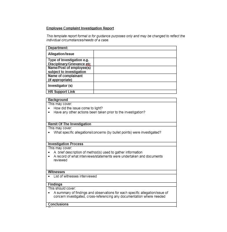 Employee Complaint Form Template 45