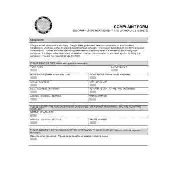Employee Complaint Form Template 46