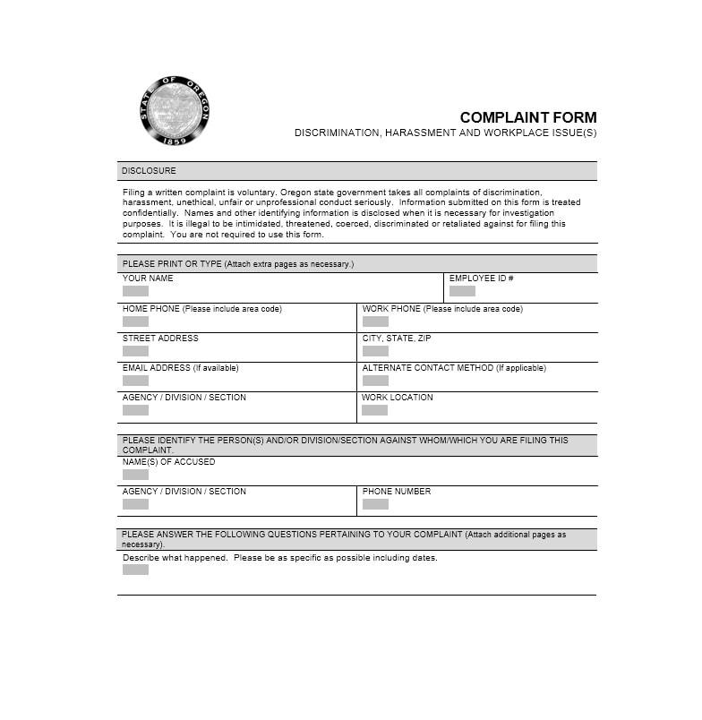 Employee Complaint Form Template 46