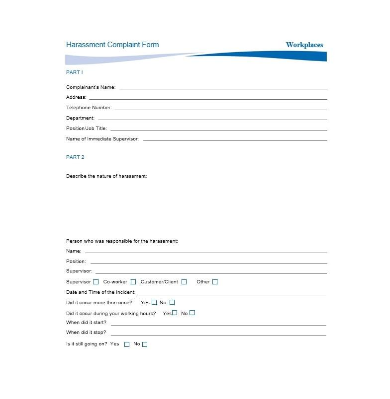 Employee Complaint Form Template 48