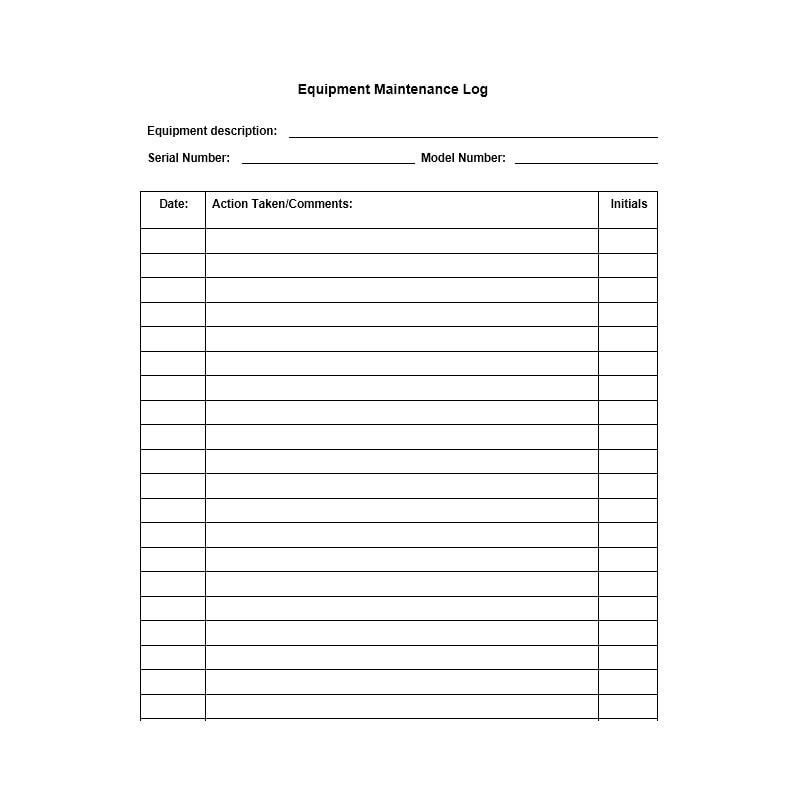 Equipment Maintenance Log Template 01
