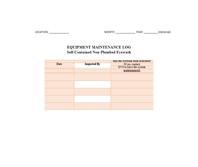 Equipment Maintenance Log Template 05