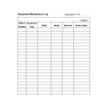 Equipment Maintenance Log Template 06