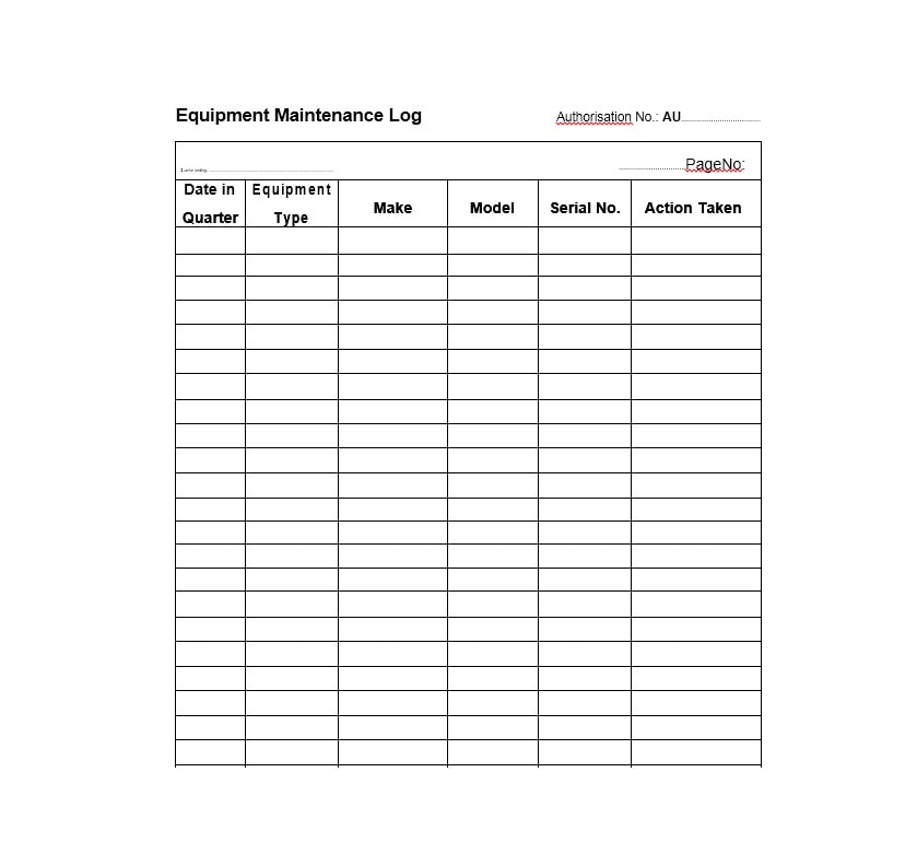Equipment Maintenance Log Template 06