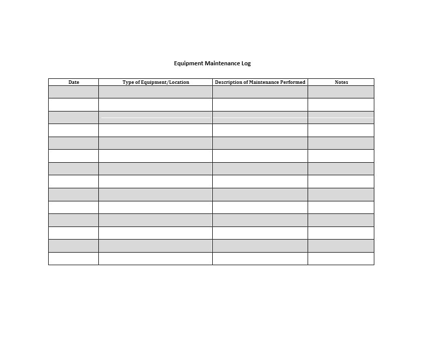 Equipment Maintenance Log Template 07