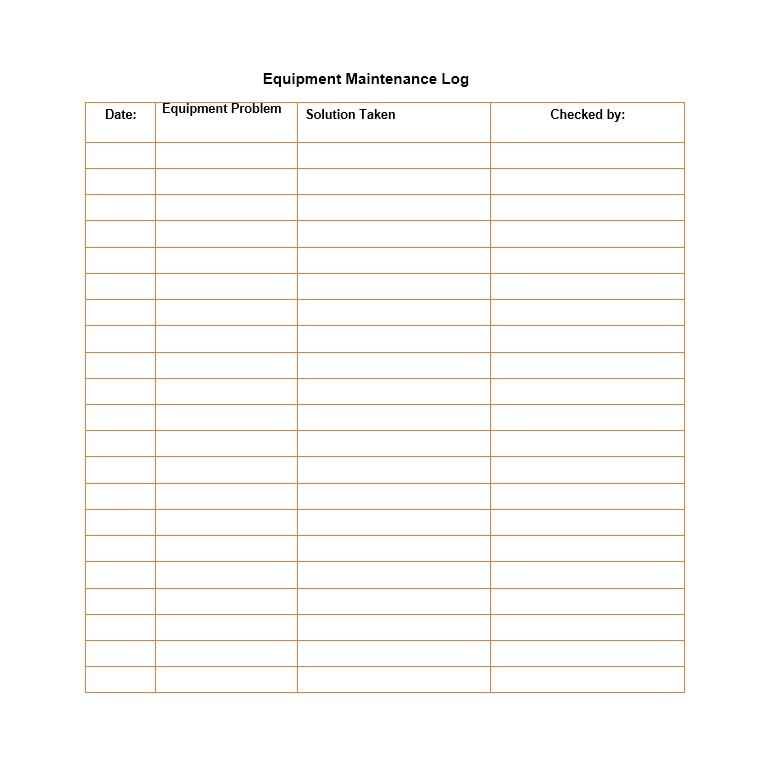 Equipment Maintenance Log Template 15