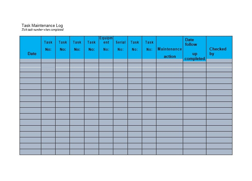 Equipment Maintenance Log Template 16