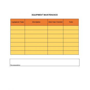 Equipment Maintenance Log Template 17