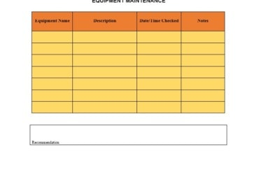 Equipment Maintenance Log Template 17