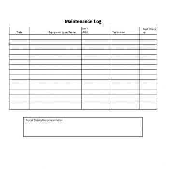 Equipment Maintenance Log Template 19