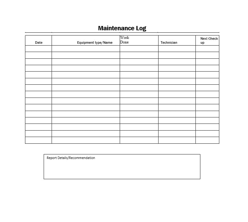 Equipment Maintenance Log Template 19