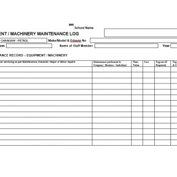 Equipment Maintenance Log Template 20