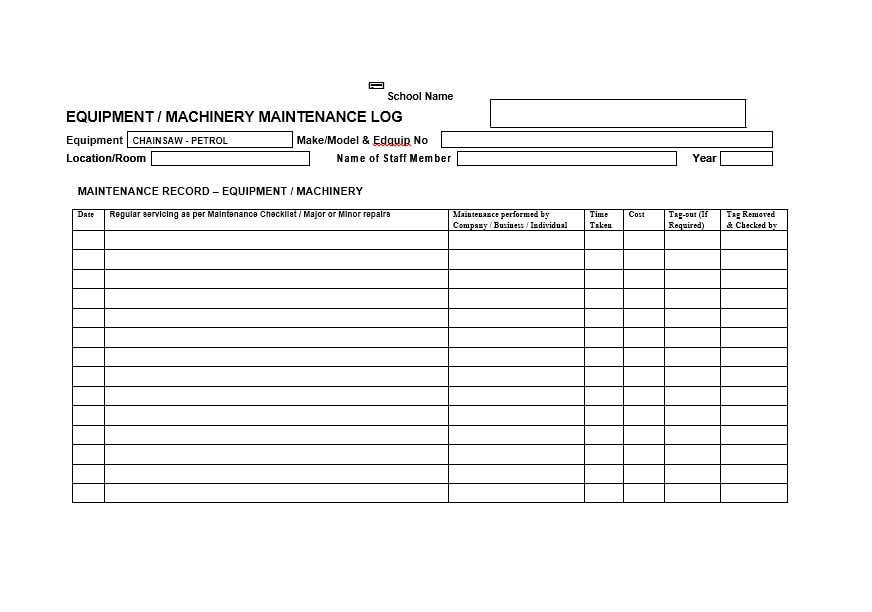 Equipment Maintenance Log Template 20