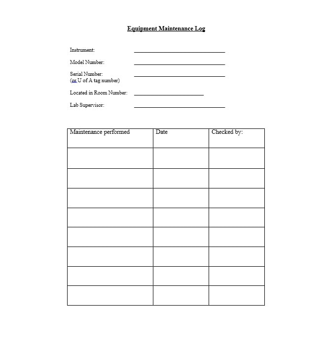 Equipment Maintenance Log Template 21