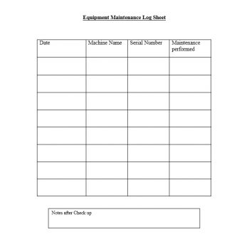 Equipment Maintenance Log Template 22