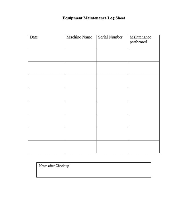 Equipment Maintenance Log Template 22