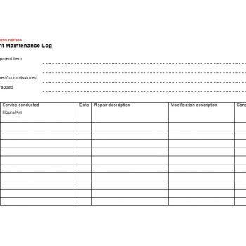 Equipment Maintenance Log Template 23