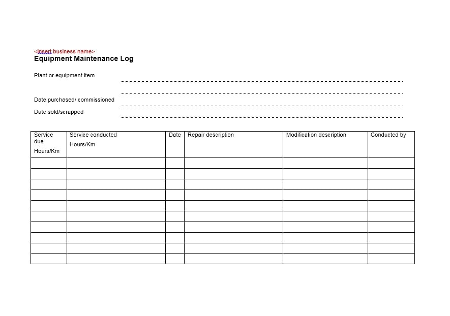 Equipment Maintenance Log Template 23