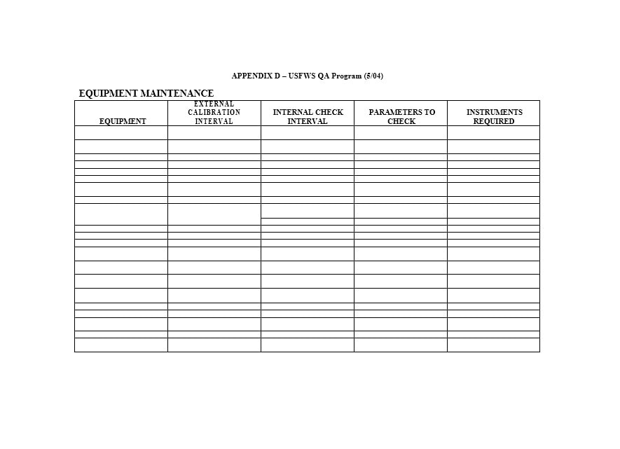 Equipment Maintenance Log Template 27