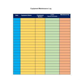 Equipment Maintenance Log Template 28