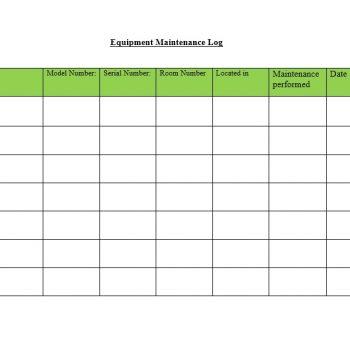 Equipment Maintenance Log Template 29
