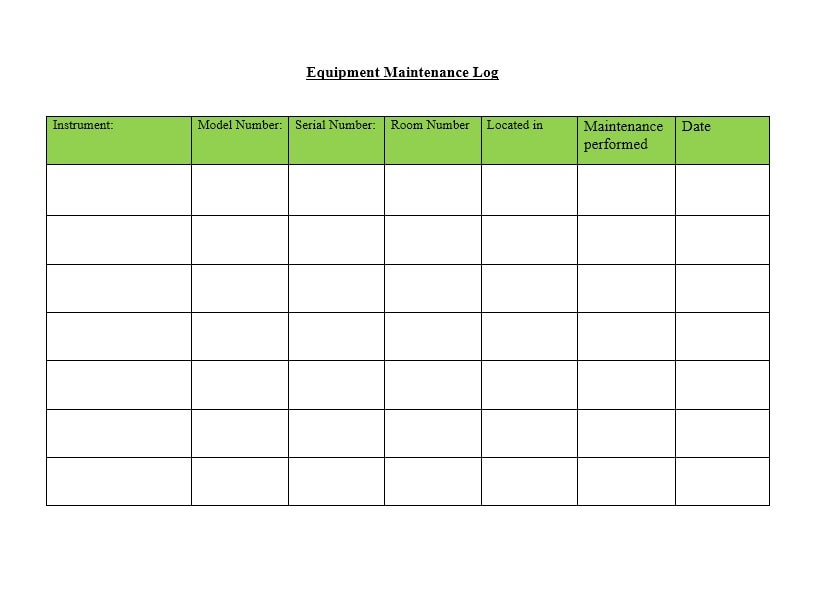 Equipment Maintenance Log Template 29