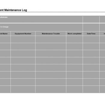 Equipment Maintenance Log Template 30