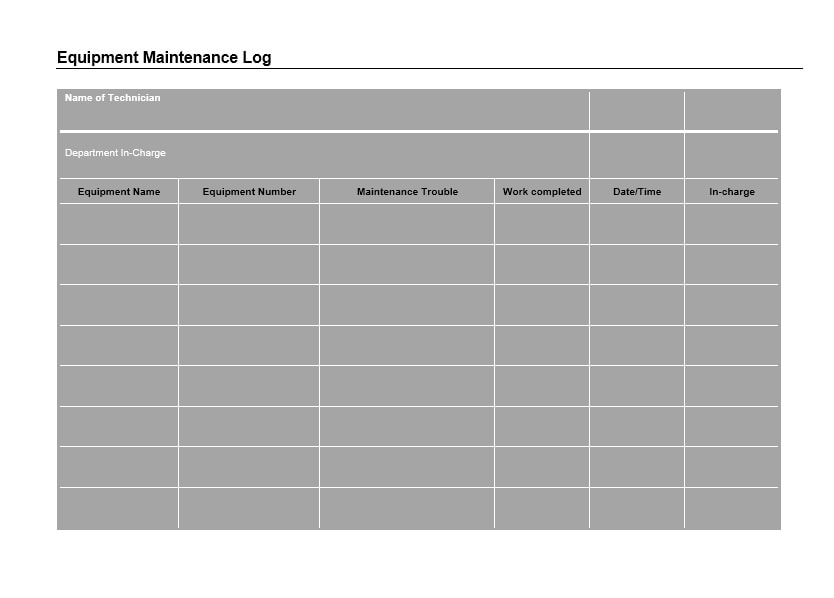 Equipment Maintenance Log Template 30