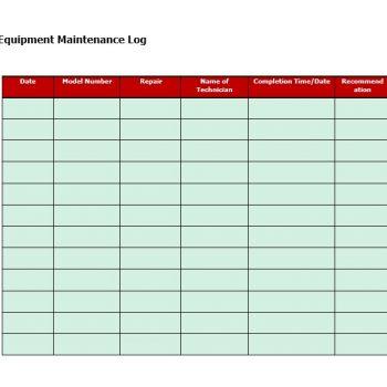 Equipment Maintenance Log Template 31