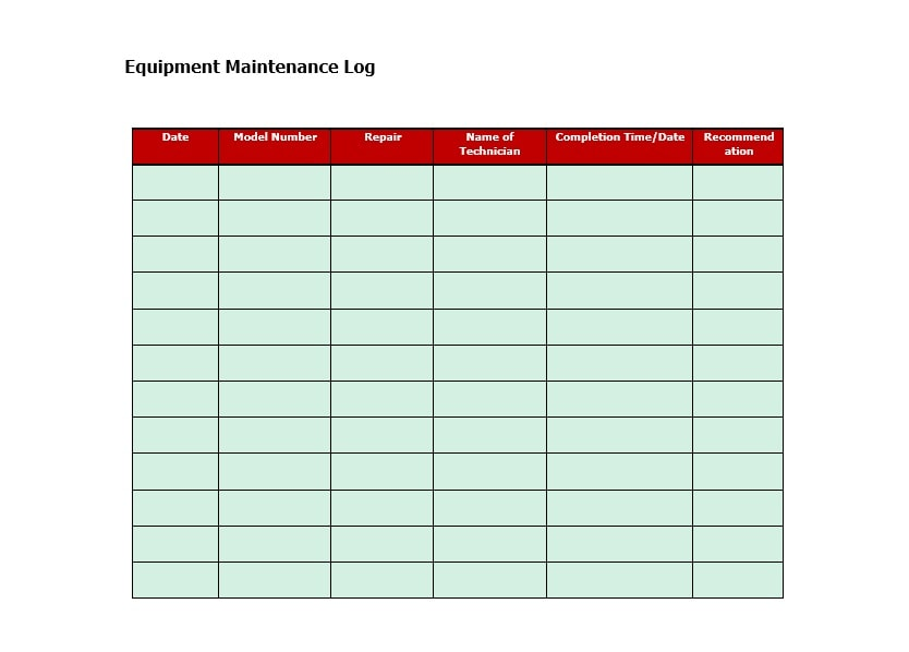 Equipment Maintenance Log Template 31