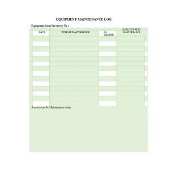 Equipment Maintenance Log Template 32