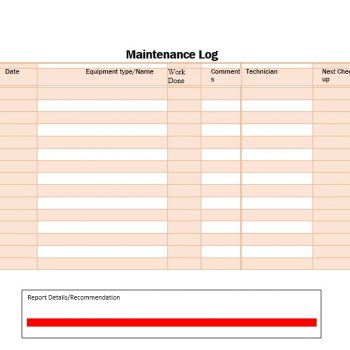 Equipment Maintenance Log Template 33