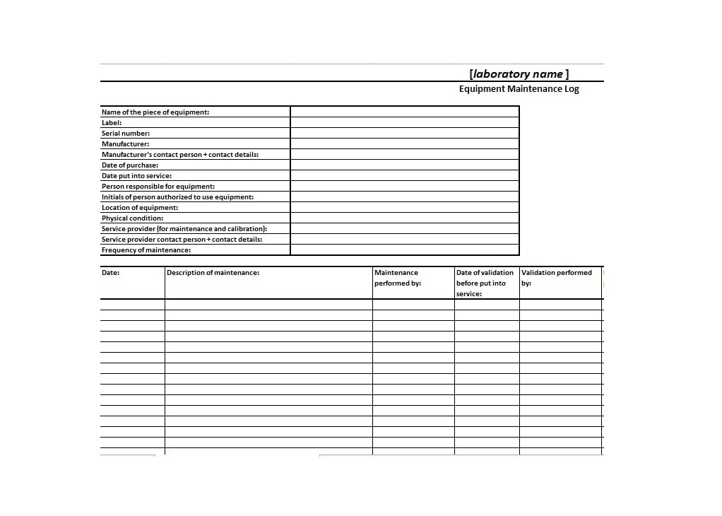 Equipment Maintenance Log Template 37