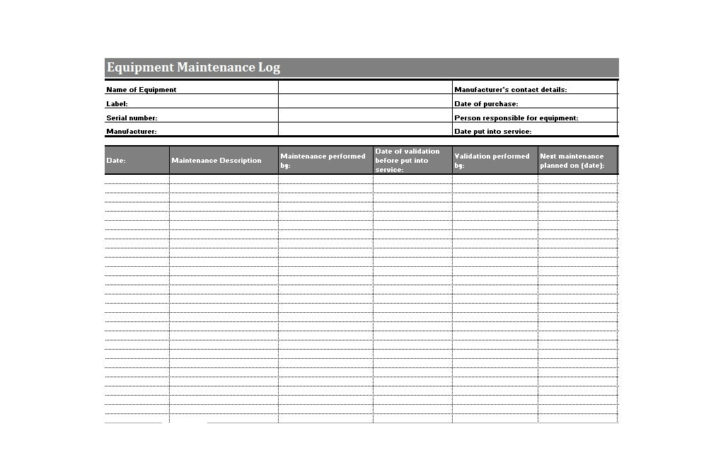Equipment Maintenance Log Template 40