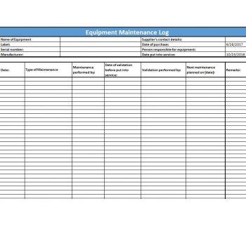 Equipment Maintenance Log Template 42