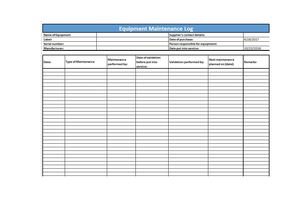 Equipment Maintenance Log Template 42