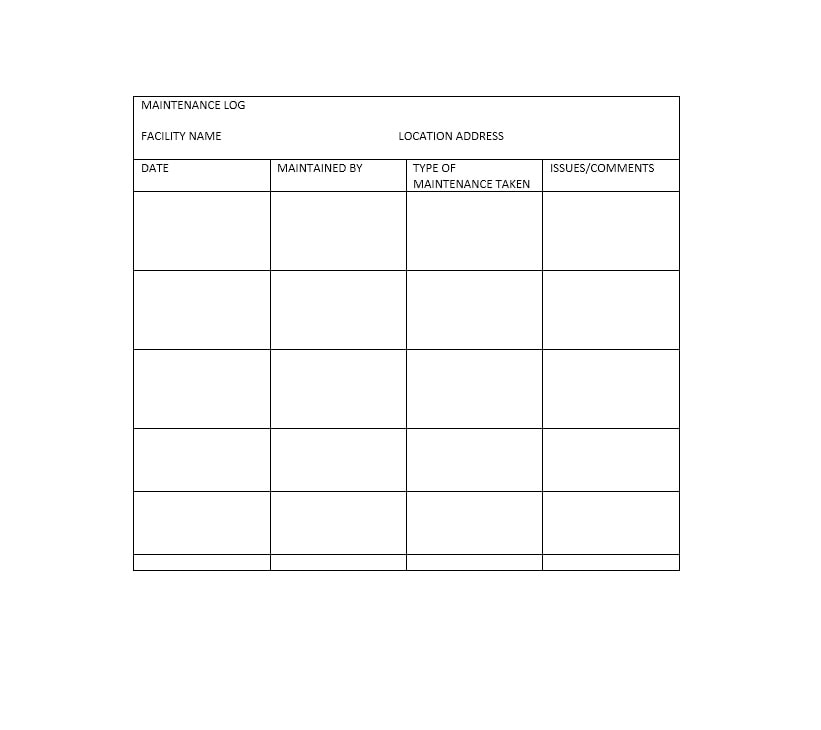 Equipment Maintenance Log Template 43