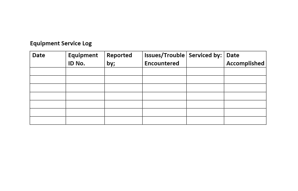 Equipment Maintenance Log Template 44