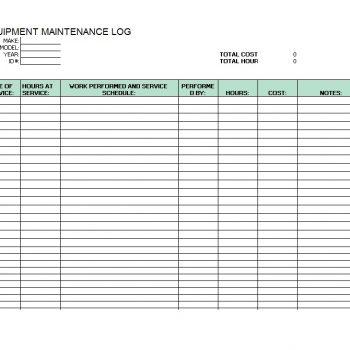 Equipment Maintenance Log Template 45