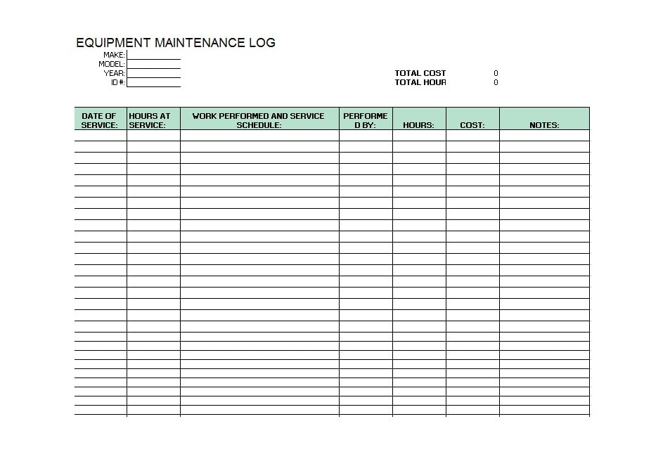 Equipment Maintenance Log Template 45