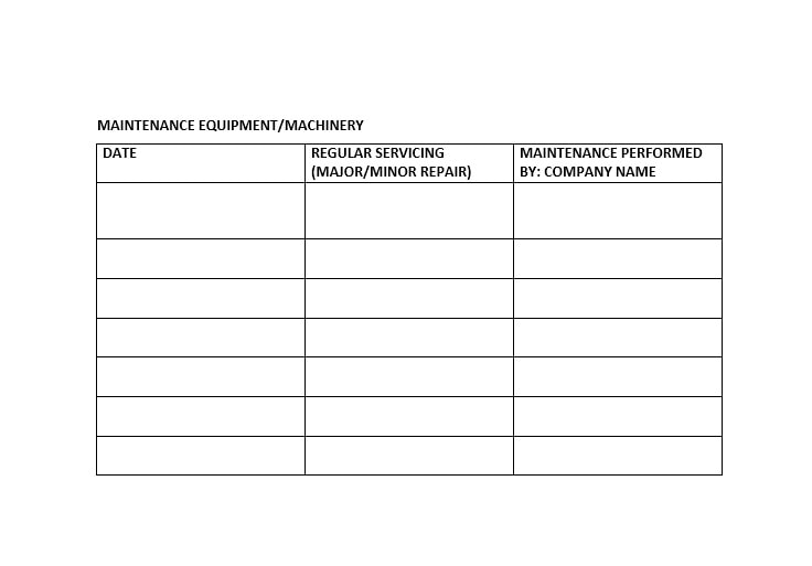 Equipment Maintenance Log Template 46